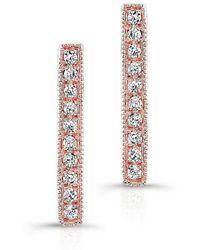 Anne Sisteron - 14kt Rose Gold Diamond Scalloped Bar Stud Earrings - Lyst