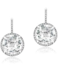 Anne Sisteron - 14kt White Gold White Topaz Diamond Round Earrings - Lyst