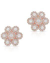 Anne Sisteron - 14kt Rose Gold Diamond Abigail Flower Earrings - Lyst