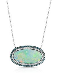 Anne Sisteron - 14kt White Gold Blue Diamond Halo Opal Necklace - Lyst