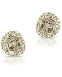 Anne Sisteron - 14kt Yellow Gold Diamond Slice Stud Earrings - Lyst