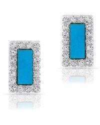 Anne Sisteron - 14kt White Gold Turquoise Diamond Bar Stud Earrings - Lyst