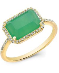 Anne Sisteron - 14kt Yellow Gold Chrysoprase Diamond Chic Ring - Lyst
