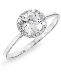 Anne Sisteron - 14kt White Gold White Topaz Solitaire Diamond Halo Ring - Lyst