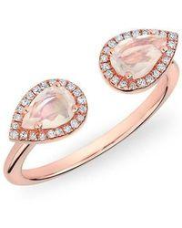 Anne Sisteron - 14kt Rose Gold Moonstone Diamond Throne Ring - Lyst