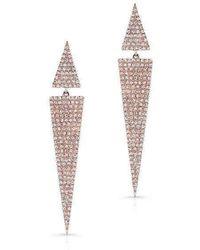 Anne Sisteron - 14kt Rose Gold Diamond Double Triangle Earrings - Lyst