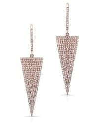 Anne Sisteron | 14kt Rose Gold Diamond Triangle Drop Earrings | Lyst