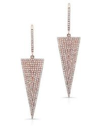 Anne Sisteron - 14kt Rose Gold Diamond Triangle Drop Earrings - Lyst