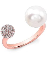 Anne Sisteron - 14kt Rose Gold Diamond Dome And Pearl Ring - Lyst