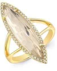 Anne Sisteron - 14kt Yellow Gold Diamond Topaz Small Serena Ring - Lyst