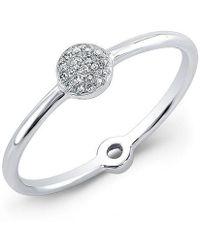 Anne Sisteron - 14kt White Gold Diamond Mini Disc Ring - Lyst