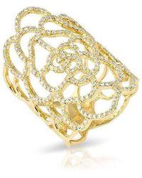 Anne Sisteron - 14kt Yellow Gold Diamond Camellia Flower Ring - Lyst