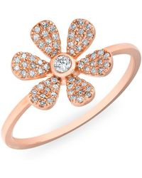 Anne Sisteron - 14kt Rose Gold Diamond Single Daisy Ring - Lyst