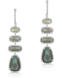 Anne Sisteron - 14kt White Gold Labradorite Diamond Trickle Earrings - Lyst