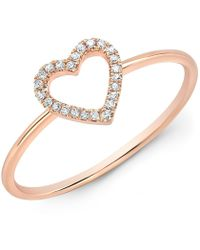 Anne Sisteron - 14kt Rose Gold Diamond Open Heart Ring - Lyst