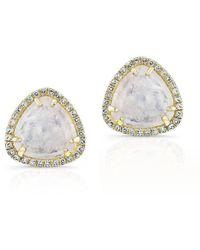 Anne Sisteron - 14kt Yellow Gold Moonstone Diamond Stud Earrings - Lyst