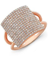 Anne Sisteron - 18kt Rose Gold Diamond Square Ring - Lyst