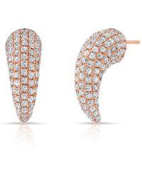 Anne Sisteron - 14kt Rose Gold Diamond Talon Stud Earrings - Lyst