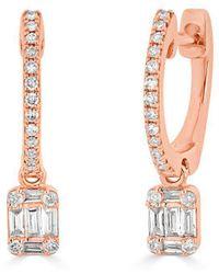Anne Sisteron - 14kt Rose Gold Mini Baguette Diamond Rectangle Ryleigh Drop Earrings - Lyst