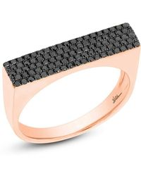 Anne Sisteron - 14kt Rose Gold Black Diamond Brick Ring - Lyst