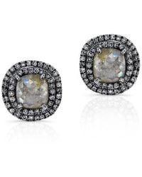 Anne Sisteron - 14kt Oxidized White Gold Raw Diamond Double Halo Stud Earrings - Lyst