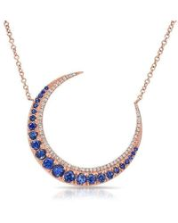 Anne Sisteron - 14kt Rose Gold Sapphire Lunar Diamond Necklace - Lyst