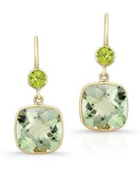 Anne Sisteron - 14kt Yellow Gold Green Amethyst Peridot Cushion Cut Earrings - Lyst