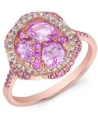 Anne Sisteron - 14kt Rose Gold Pink Sapphire Cluster Diamond Cocktail Ring - Lyst