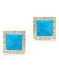 Anne Sisteron - 14kt Yellow Gold Turquoise Diamond Pyramid Large Stud Earrings - Lyst