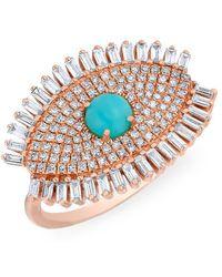 Anne Sisteron - 14kt Rose Gold Baguette Diamond Turquoise Evil Eye Gypsy Ring - Lyst