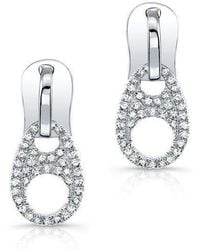 Anne Sisteron - 14kt White Gold Diamond Zipper Earrings - Lyst