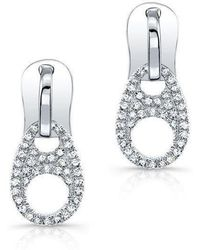 Anne Sisteron | 14kt White Gold Diamond Zipper Earrings | Lyst