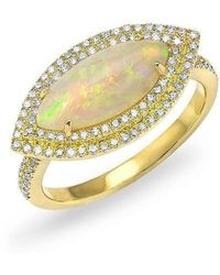 Anne Sisteron - 14kt Yellow Gold Marquis Opal Double Halo Diamond Ring - Lyst
