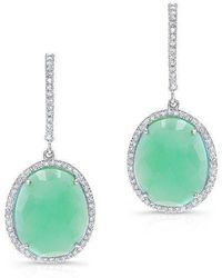 Anne Sisteron - 14kt White Gold Chrysoprase Diamond Oval Earrings - Lyst