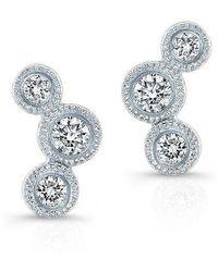 Anne Sisteron - 14kt White Gold Bezel Set Diamond Hazel Earrings - Lyst
