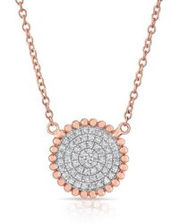 Anne Sisteron - 14kt Rose Gold Diamond Large Scalloped Disc Necklace - Lyst