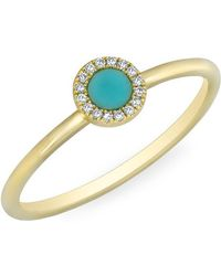 Anne Sisteron - 14kt Yellow Gold Diamond Turquoise Round Disc Ring - Lyst