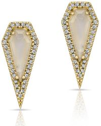 Anne Sisteron - 14kt Yellow Gold Moonstone Diamond Shield Earrings - Lyst