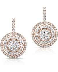 Anne Sisteron - 14kt Rose Gold Pave Diamond Double Halo Wireback Earrings - Lyst