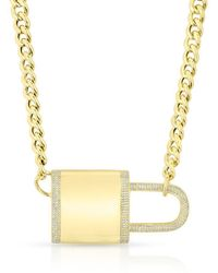 Anne Sisteron - 14kt Yellow Gold Diamond Luxe Lovelock Necklace - Lyst