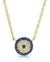 Anne Sisteron - 14kt Yellow Gold Diamond And Sapphire Mini Disc Necklace - Lyst