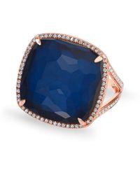 Anne Sisteron - 14kt Rose Gold Diamond Blue Sapphire Laguna Triplet Cushion Cut Cocktail Ring - Lyst