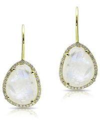 Anne Sisteron - 14kt Yellow Gold Moonstone Diamond Organic Shape Earrings - Lyst