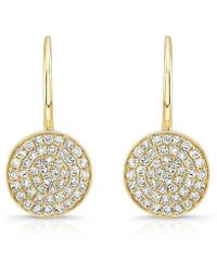 Anne Sisteron - 14kt Yellow Gold Diamond Disc Earrings - Lyst