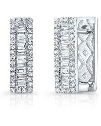 Anne Sisteron - 14kt White Gold Baguette Diamond Rectangle Huggie Earrings - Lyst