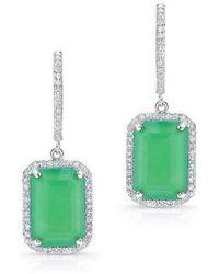 Anne Sisteron - 14kt White Gold Rectangle Chrysoprase Diamond Earrings - Lyst