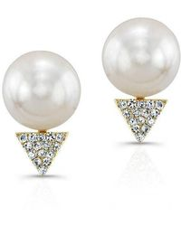 Anne Sisteron - 14kt Yellow Gold Pearl Diamond Triangle Stud Earrings - Lyst
