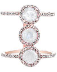Anne Sisteron - 14kt Rose Gold Triple Diamond Slice H Ring - Lyst