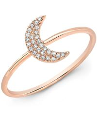 Anne Sisteron - 14kt Rose Gold Diamond Moon Ring - Lyst