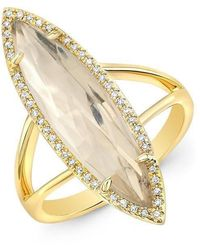 Anne Sisteron - 14kt Yellow Gold Diamond Topaz Small Serena Ring - Lyst